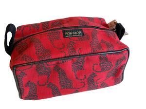 Bilde av Rød toalettmappe med leoparder -